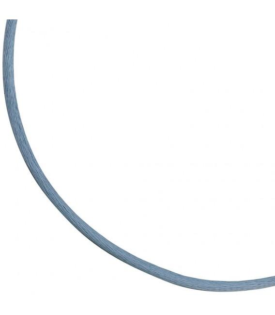 Collier Halskette Seide hellblau 2,8 mm 42 cm, Verschluss 925 Silber Kette. Zoom