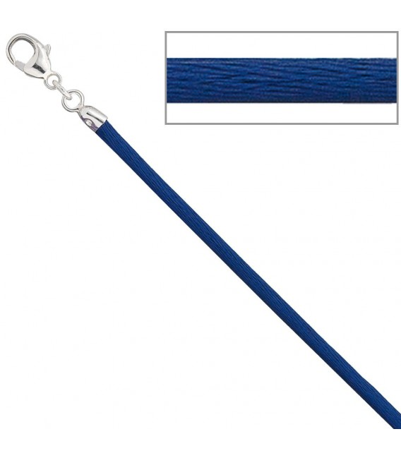 Collier Halskette Seide blau - 4053258104408