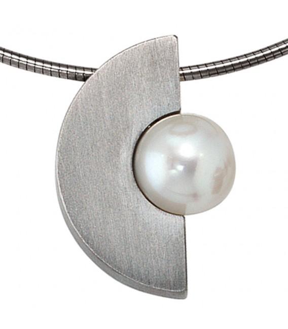 Anhänger Edelstahl mattiert 1 Süßwasser Perle Perlenanhänger.