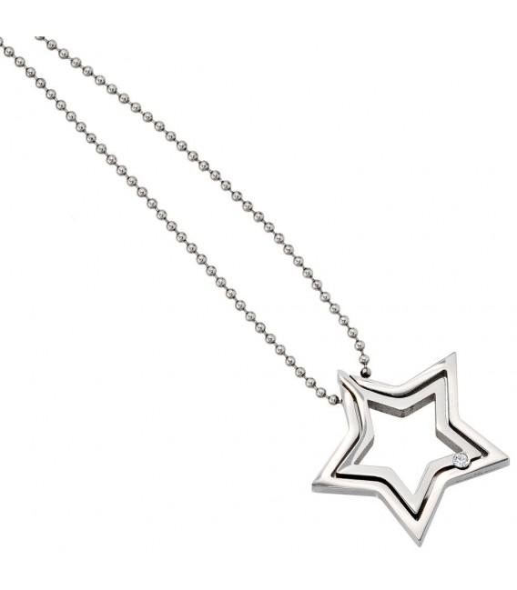 Collier Kette mit Anhänger Stern Edelstahl 1 Kristall 48 cm Halskette.