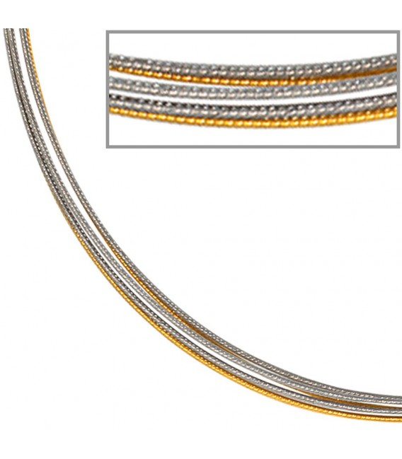 Halsreif 5-reihig bicolor vergoldet 42 cm Halskette Kette Silberkette Statement. Zoom