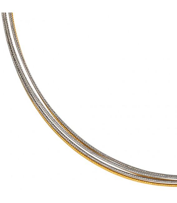 Halsreif 5-reihig bicolor vergoldet 45 cm Halskette Kette Silberkette Statement.
