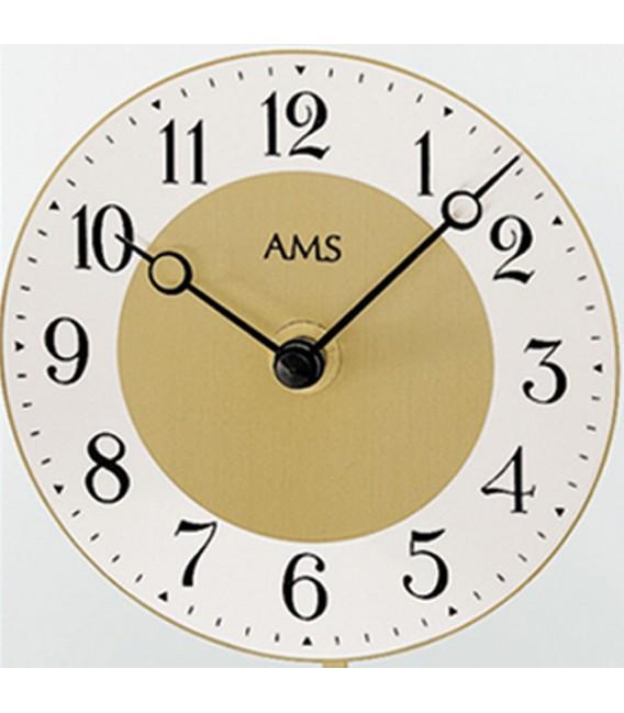 AMS 1117 Tischuhr Quarz mit Pendel golden Metall mit Aluminium und Glas.