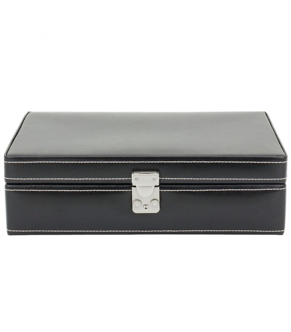 Friedrich Lederwaren Uhrenkoffer Uhrenkasten Uhrenbox Leder schwarz für 10 Uhren. Zoom