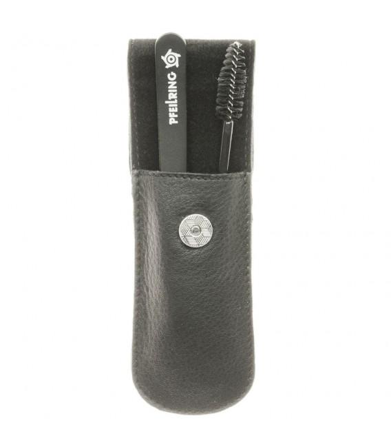 Pfeilring Taschenetui, Nappaleder schwarz, 2-teilige Bestückung.