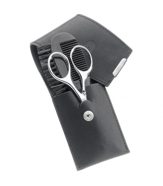 Pfeilring Bart-Etui, Juchtenleder, schwarz, 2-teilige Bestückung.