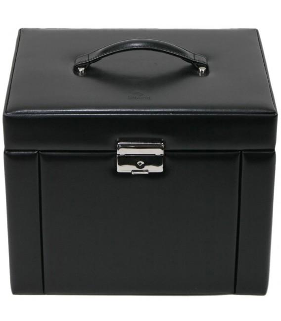 Sacher Schmuckkoffer Schmuckkasten schwarz abschließbar Uhrenfach Schubladen.