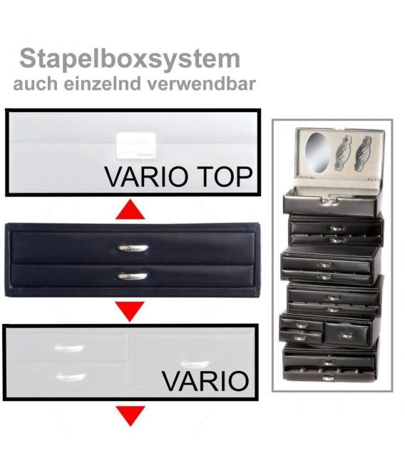 Sacher Schmuckkassette schwarz stapelbar Holz mit Leder 2 Schubladen. Bild 3 Zoom