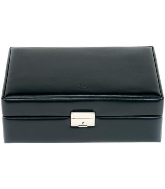 Sacher Schmuckkoffer Schmuckkasten schwarz Holz mit Leder abschließbar Reisetui.