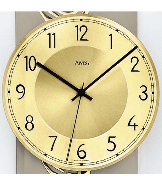 AMS 5223 Wanduhr Funk Funkwanduhr mit Pendel golden Pendeluhr Glas Rosen Dekor.