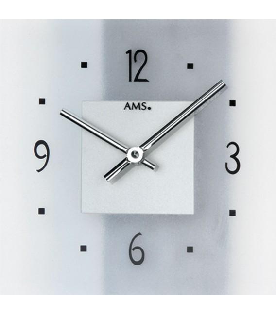 AMS 9245 Wanduhr Quarz analog silbern modern mit Schiefer und Glas Schieferuhr.
