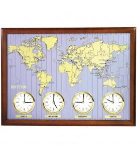 Rhythm 7902 Wanduhr Weltzeit-Uhr - 4895049420478
