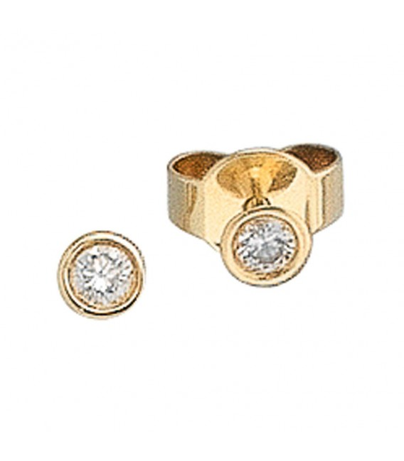 Ohrstecker rund 585 Gold Gelbgold 2 Diamanten Brillanten 0,10ct. Ohrringe