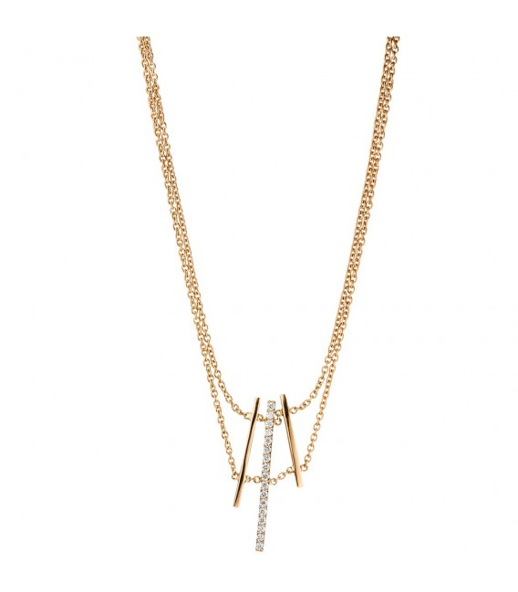 Collier Halskette 585 Gold Rotgold 17 Diamanten Brillanten 41 cm Kette. ...