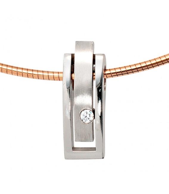 Anhänger 950 Platin matt 1 Diamant Brillant 0,10ct. Platinanhänger.