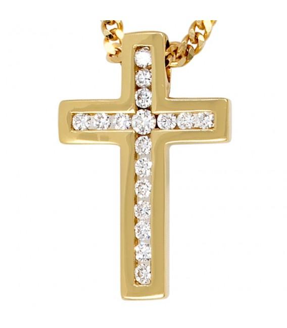 Anhänger Kreuz 585 Gold Gelbgold 17 Diamanten Brillanten Kreuzanhänger Goldkreuz.