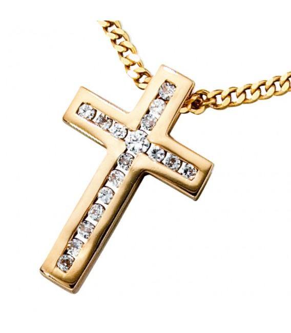Anhänger Kreuz 585 Gold Gelbgold 17 Diamanten Brillanten Kreuzanhänger Goldkreuz. Bild 3