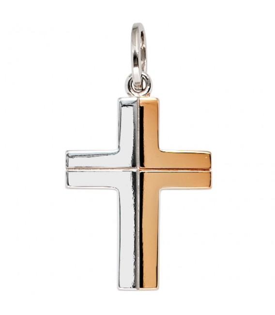 Anhänger Kreuz 585 Gold Weißgold bicolor Kreuzanhänger Goldkreuz. Zoom