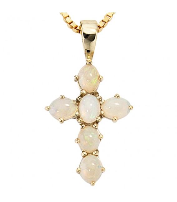 Anhänger Kreuz 585 Gold Gelbgold 6 Opale Kreuzanhänger Goldkreuz.