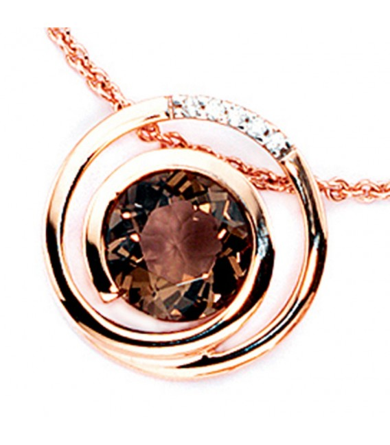 Anhänger 585 Gold Rotgold 5 Diamanten Brillanten 0,035ct. 1 Rauchquarz braun.