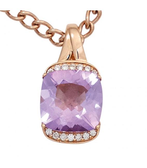 Anhänger 585 Gold Rotgold 1 Amethyst lila violett 14 Diamanten Brillanten. ...