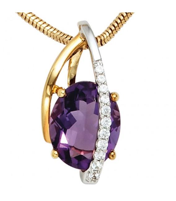 Anhänger 585 Gold Gelbgold Weißgold 11 Diamanten Brillanten 1 Amethyst violett.