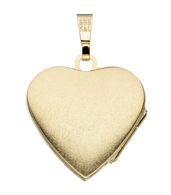 Medaillon Herz 585 Gold Gelbgold mattiert Anhänger zum Öffnen.