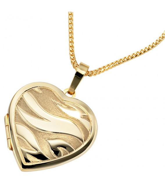 Medaillon Herz 585 Gold Gelbgold mattiert Anhänger zum Öffnen. Bild 3