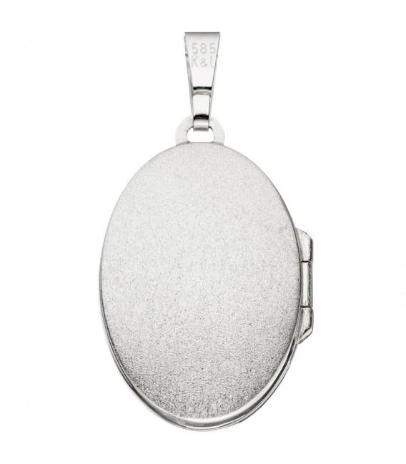 Medaillon oval 585 Gold Weißgold mattiert 3 Diamanten Anhänger zum Öffnen.