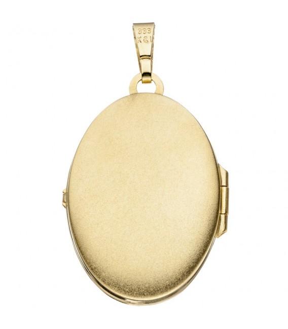 Medaillon oval für 2 Fotos 333 Gold Gelbgold matt Anhänger zum Öffnen.