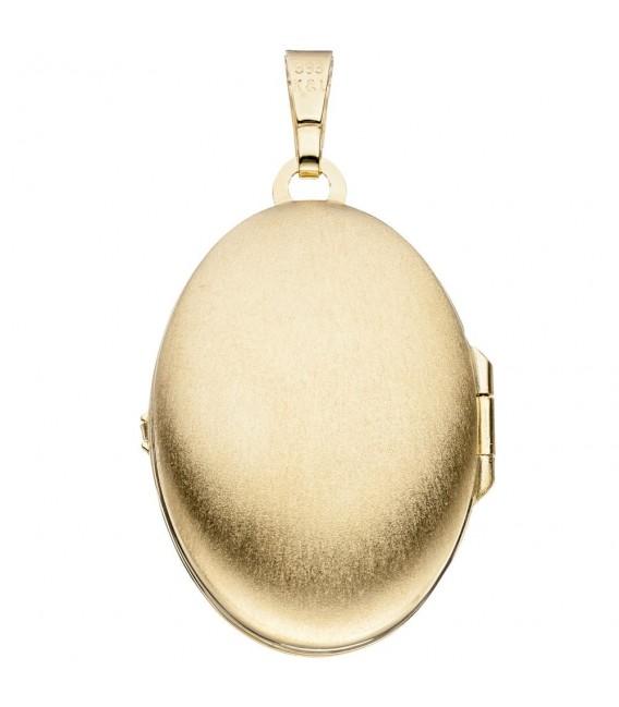 Medaillon oval für 2 Fotos 333 Gold Gelbgold Anhänger zum Öffnen.