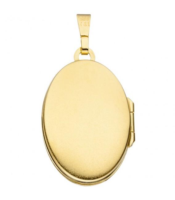 Medaillon oval für 2 Fotos aus 333 Gold Gelbgold 4 Zirkonia Anhänger zum Öffnen.