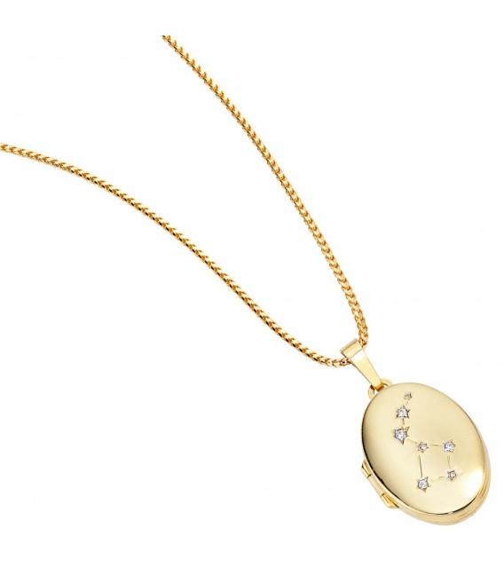 Medaillon oval für 2 Fotos aus 333 Gold Gelbgold 4 Zirkonia Anhänger zum Öffnen. Bild 3
