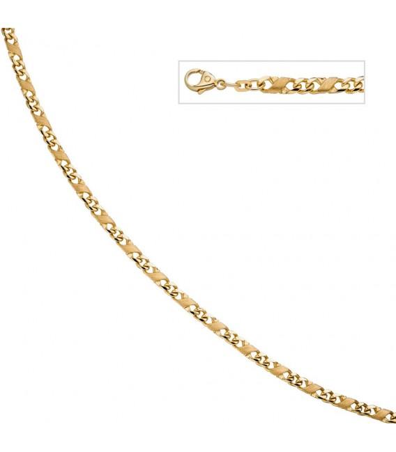 Halskette Kette 585 Gold Gelbgold massiv mattiert 50 cm Karabiner Zoom