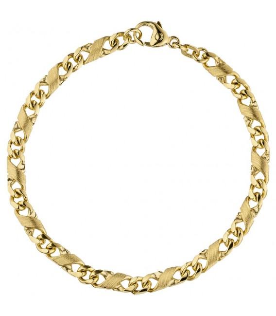 Armband 585 Gold Gelbgold massiv mattiert 21 cm Goldarmband Karabiner. Zoom