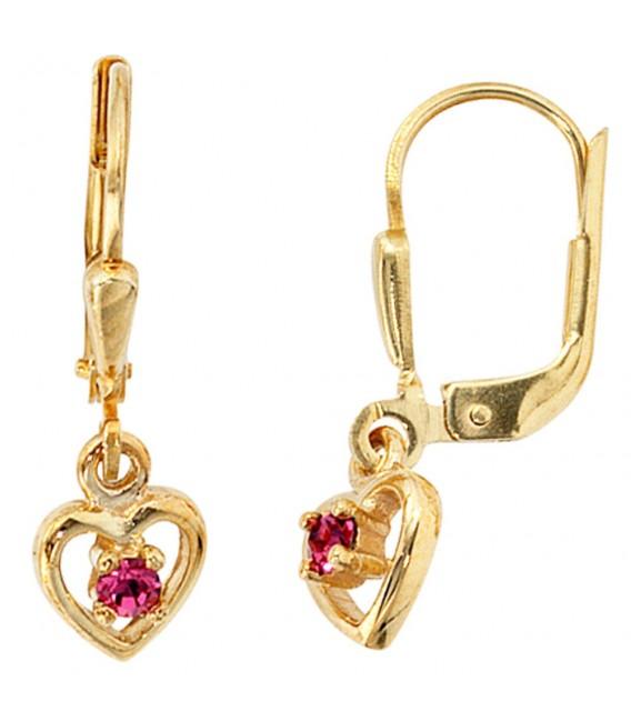 Kinder Boutons Herz 333 Gold Gelbgold 2 Glassteine rosa rosé Ohrringe Ohrhänger.