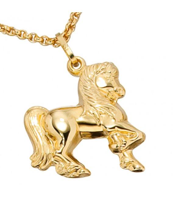 Kinder Anhänger Pferd 333 Gold Gelbgold Pferdeanhänger Kinderanhänger.