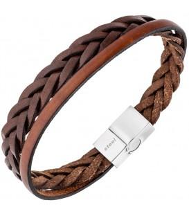 Herren Armband 2-reihig Leder - 4053258334225