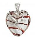 Anhänger Herz weiß-rotes Glas - 40560