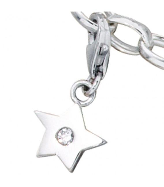 Einhänger Charm Stern 925 Sterling Silber rhodiniert 1 Zirkonia.