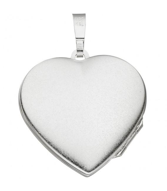 Medaillon Herz für 2 Fotos 925 Silber matt geschwärzt Anhänger zum Öffnen.
