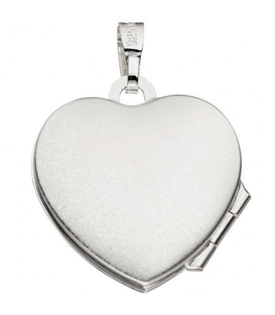Medaillon für 2 Fotos Herz 925 Sterling Silber eismatt Anhänger zum Öffnen.