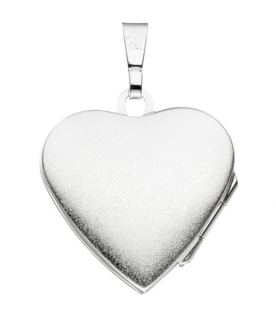 Medaillon Herz 925 Sterling Silber eismatt Anhänger zum Öffnen.