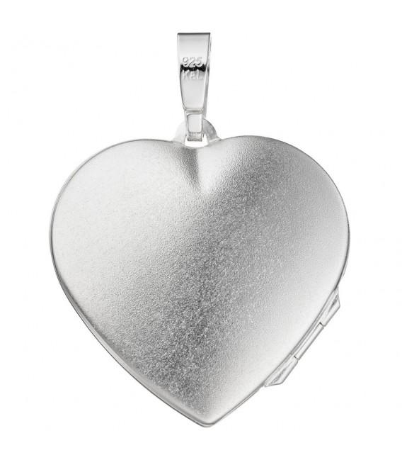 Medaillon Herz 925 Sterling Silber mattiert Anhänger zum Öffnen.