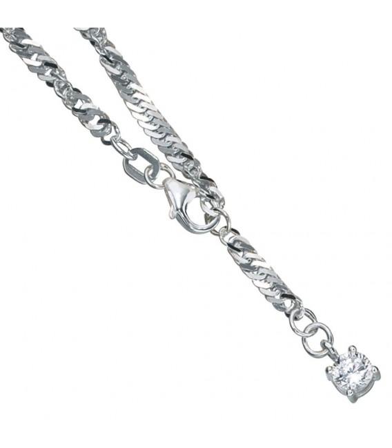 Fußkettchen Fußkette 925 Sterling Silber rhodiniert 1 Zirkonia 25 cm Karabiner.