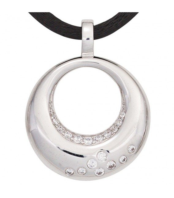 Anhänger rund 925 Sterling Silber rhodiniert mit Zirkonia.