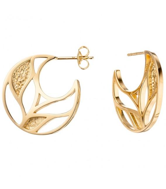 Halbcreolen 925 Sterling Silber gold vergoldet Ohrringe Creolen.