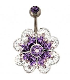 Bauchnabel Piercing Blume 925 - 4053258101018