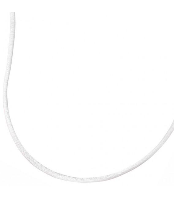 Collier Halskette Seide weiss 42 cm, Verschluss 925 Silber Kette.