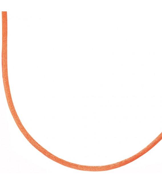Collier Halskette Seide orange 42 cm, Verschluss 925 Silber Kette. Zoom